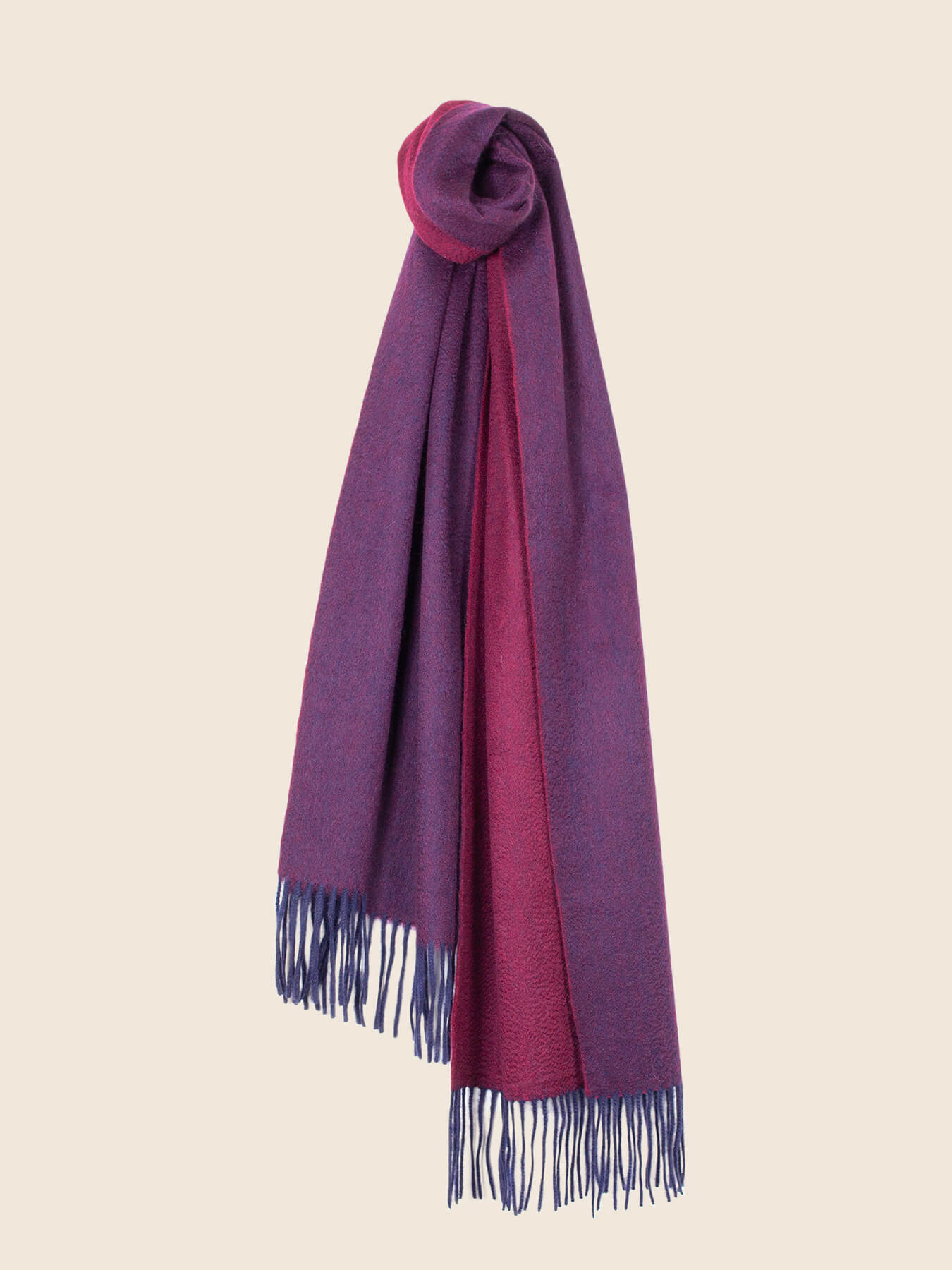 Two-Tone Reversible Cashmere Shawl Mulberry 1