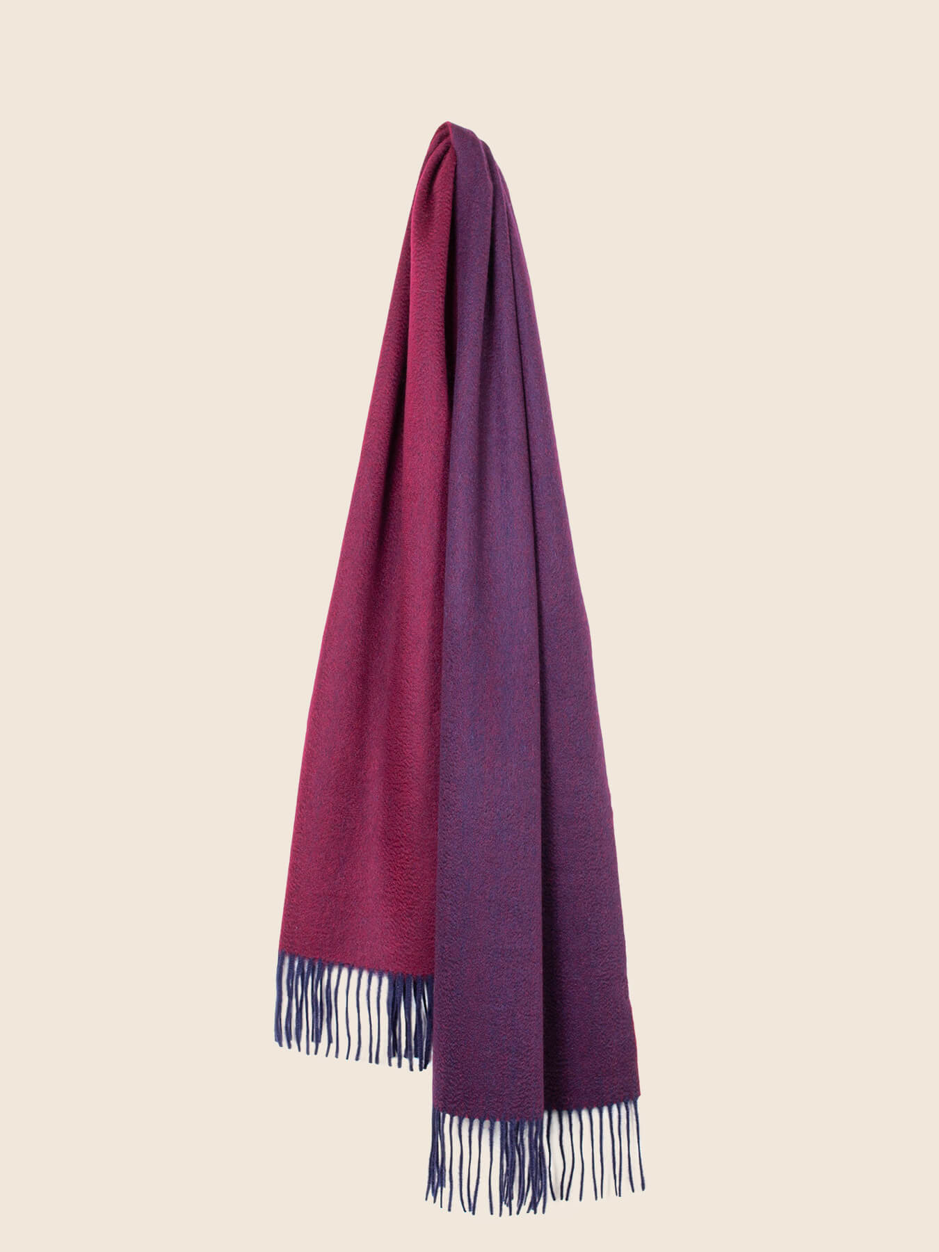Two-Tone Reversible Cashmere Shawl Mulberry 2