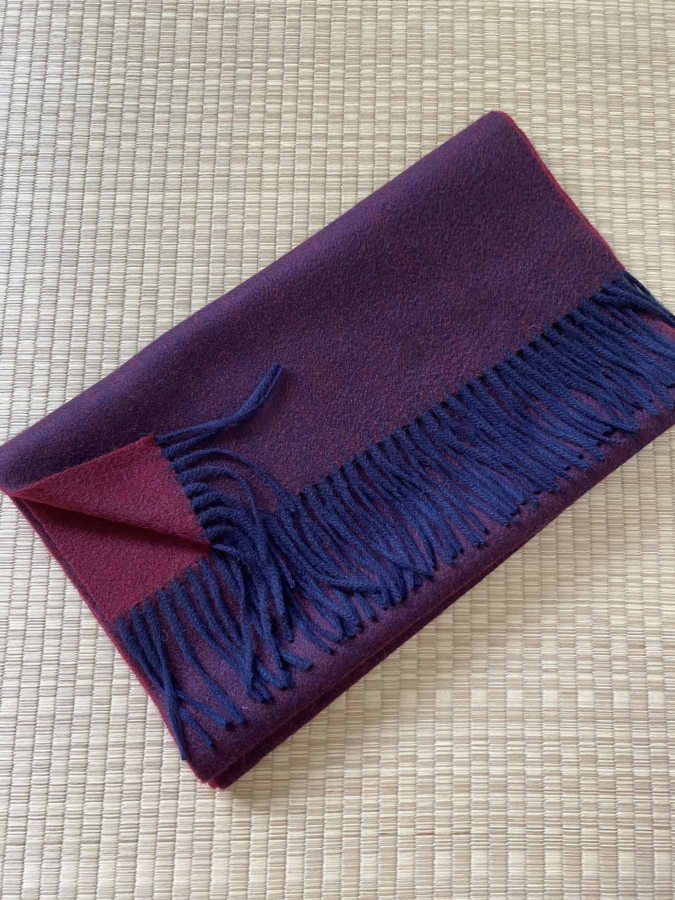 Two-Tone Reversible Cashmere Shawl Mulberry 3