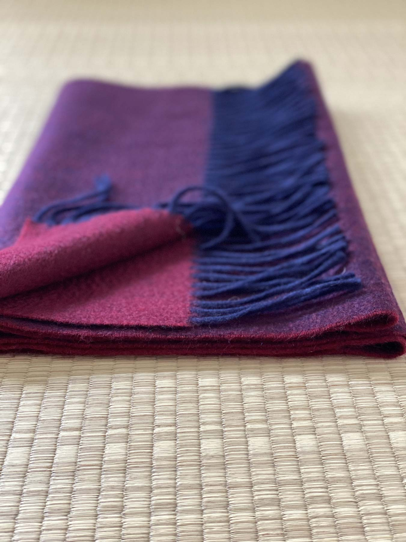 Two-Tone Reversible Cashmere Shawl Mulberry 4