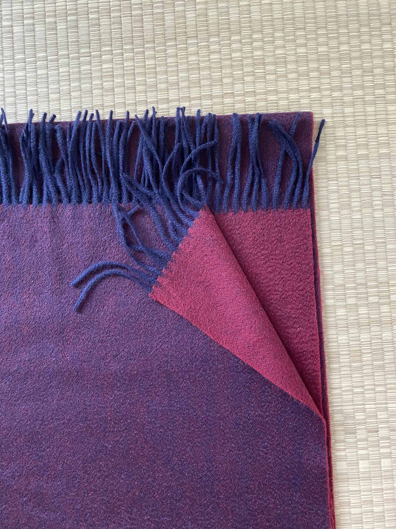 Two-Tone Reversible Cashmere Shawl Mulberry 5