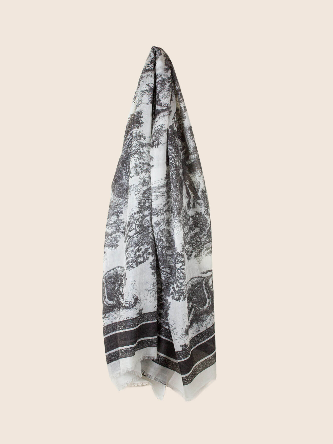 Savanna Prints Cashmere Scarf Black1