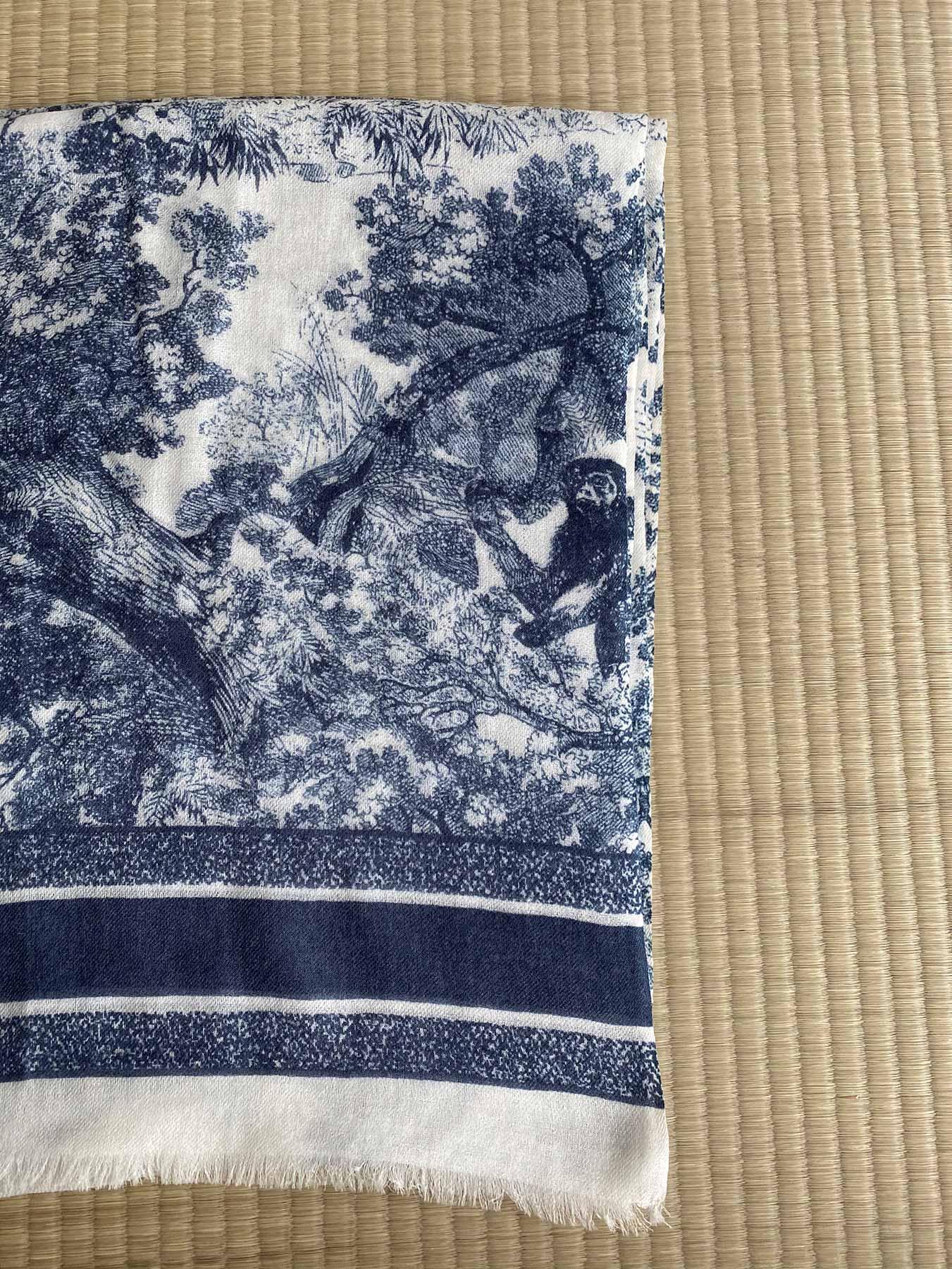 Savanna Prints Cashmere Scarf Blue 2