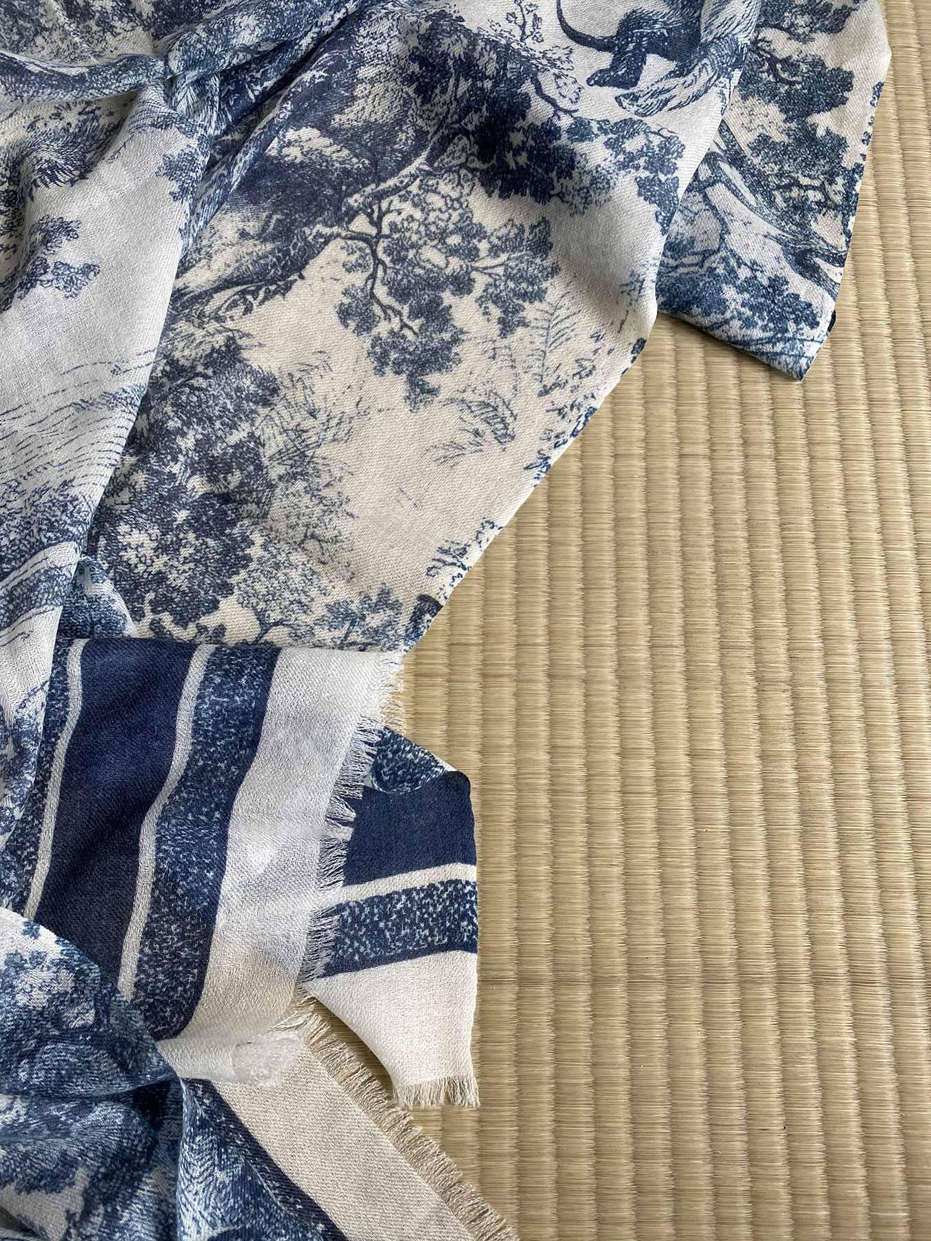Savanna Prints Cashmere Scarf Blue 4