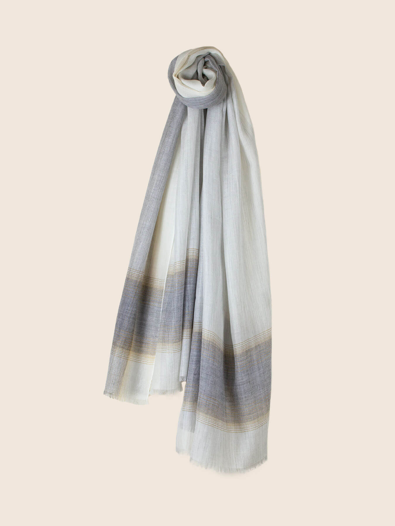 Semi-sheer Cashmere Scarf Grey And Gold 1