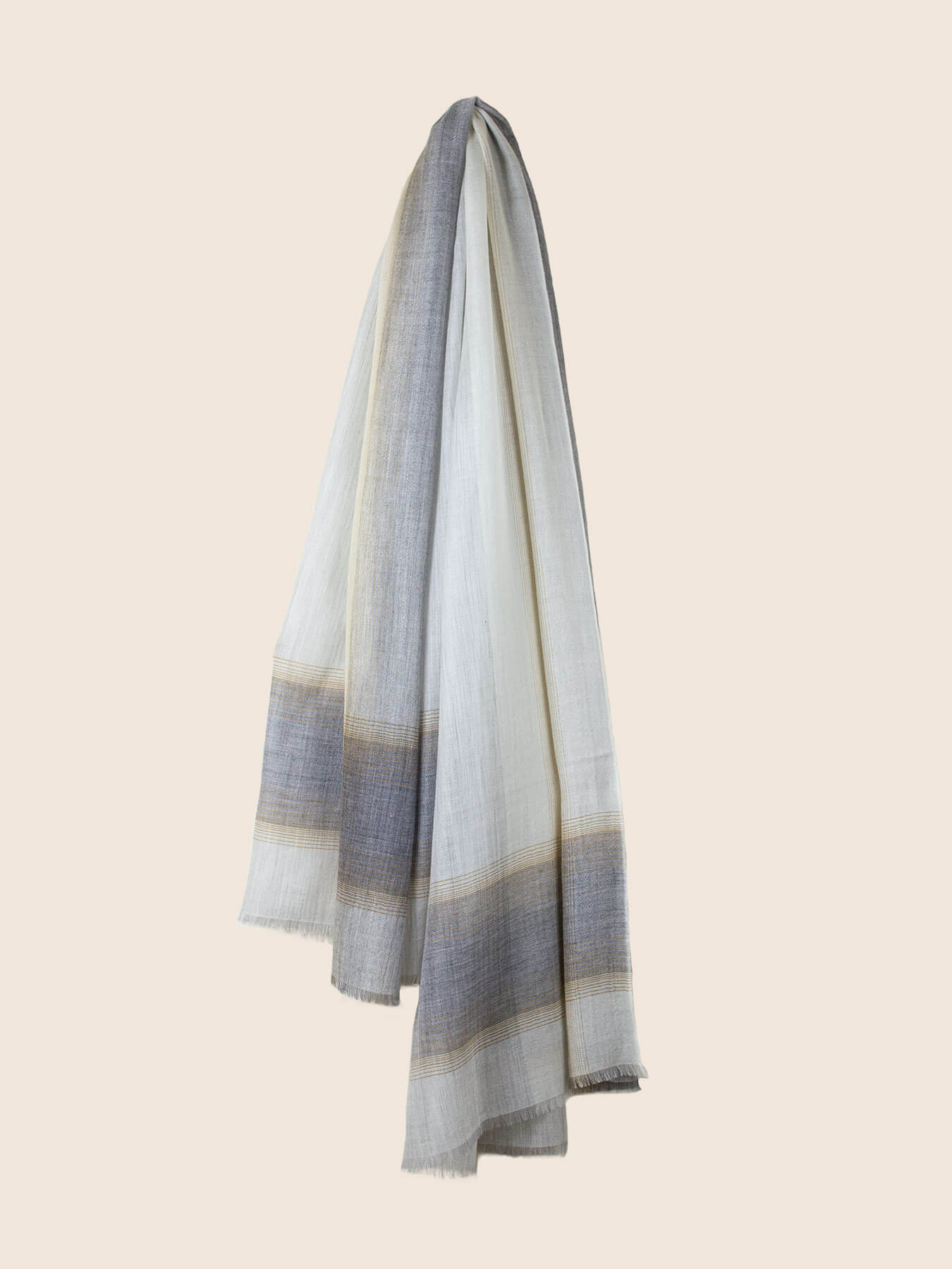 Semi-sheer Cashmere Scarf Grey And Gold 2