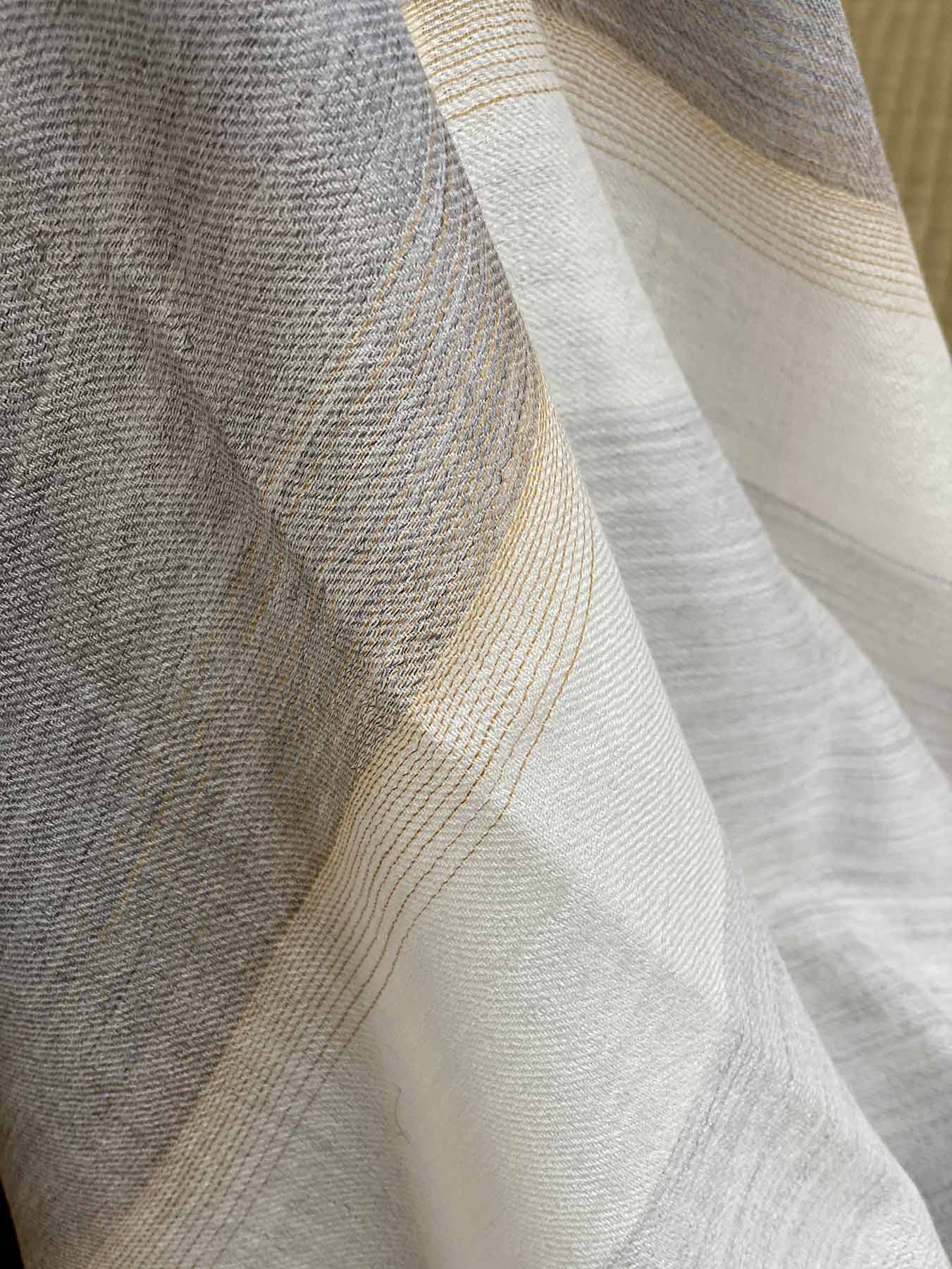 Semi-sheer Cashmere Scarf Grey And Gold 9