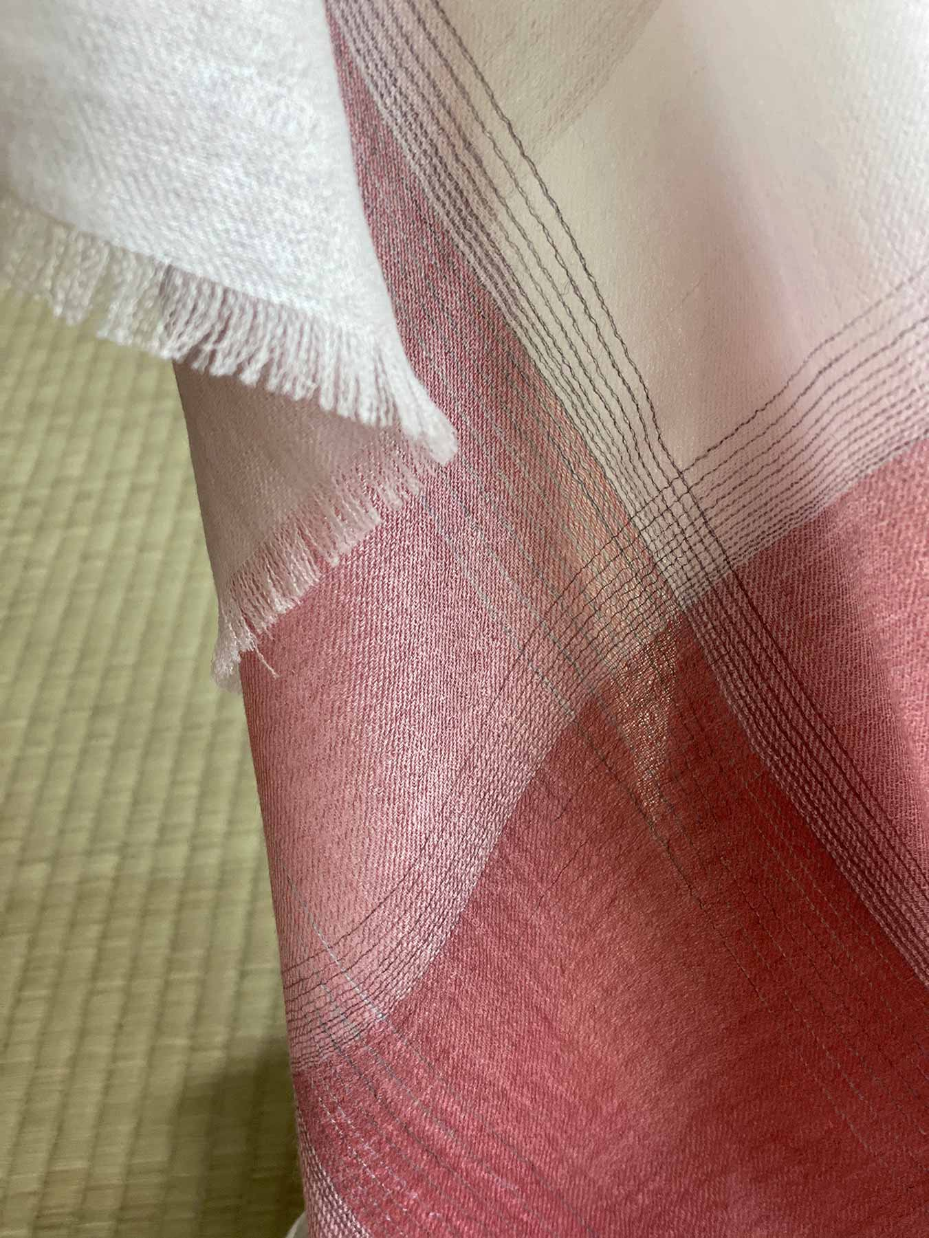 Semi-sheer Cashmere Scarf Rose Pink 4