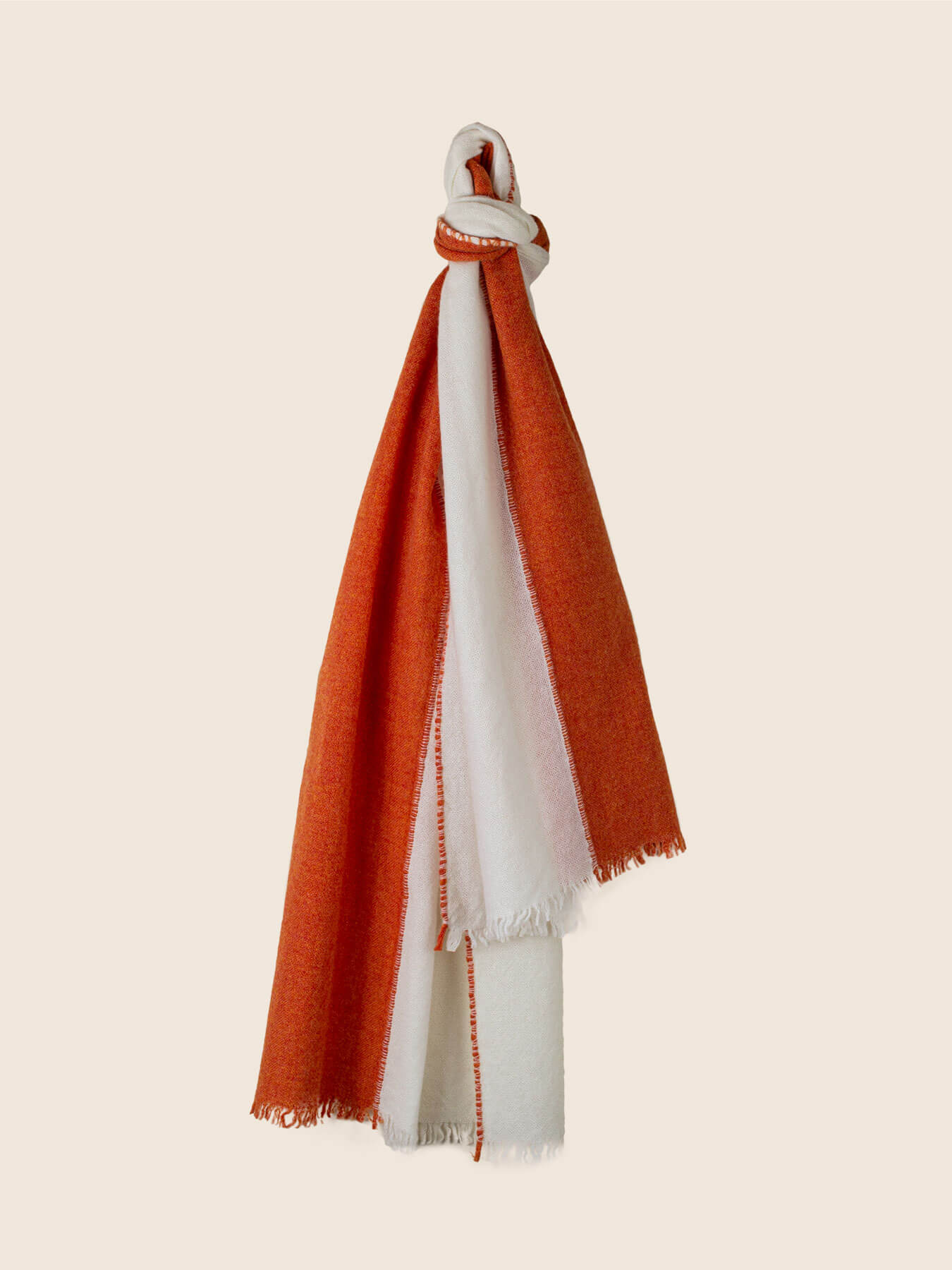 Two Tone Weaver Cashmere Scarf Blood Orange 1
