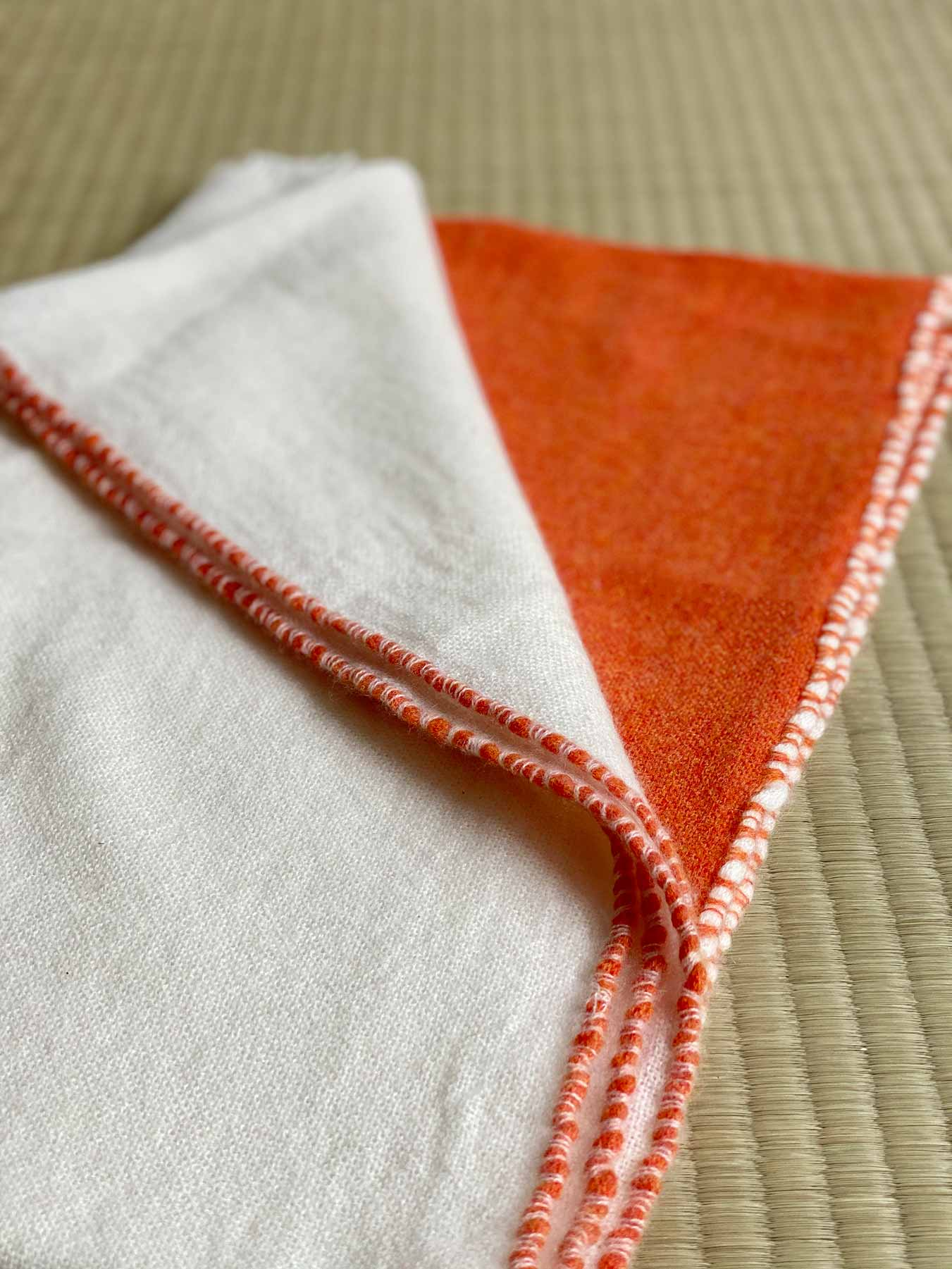 Two Tone Weaver Cashmere Scarf Blood Orange 2