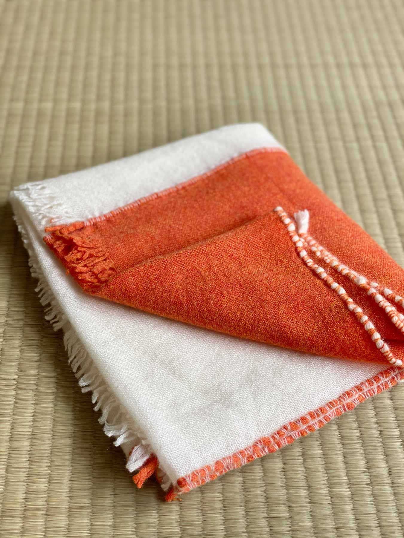 Two Tone Weaver Cashmere Scarf Blood Orange 3