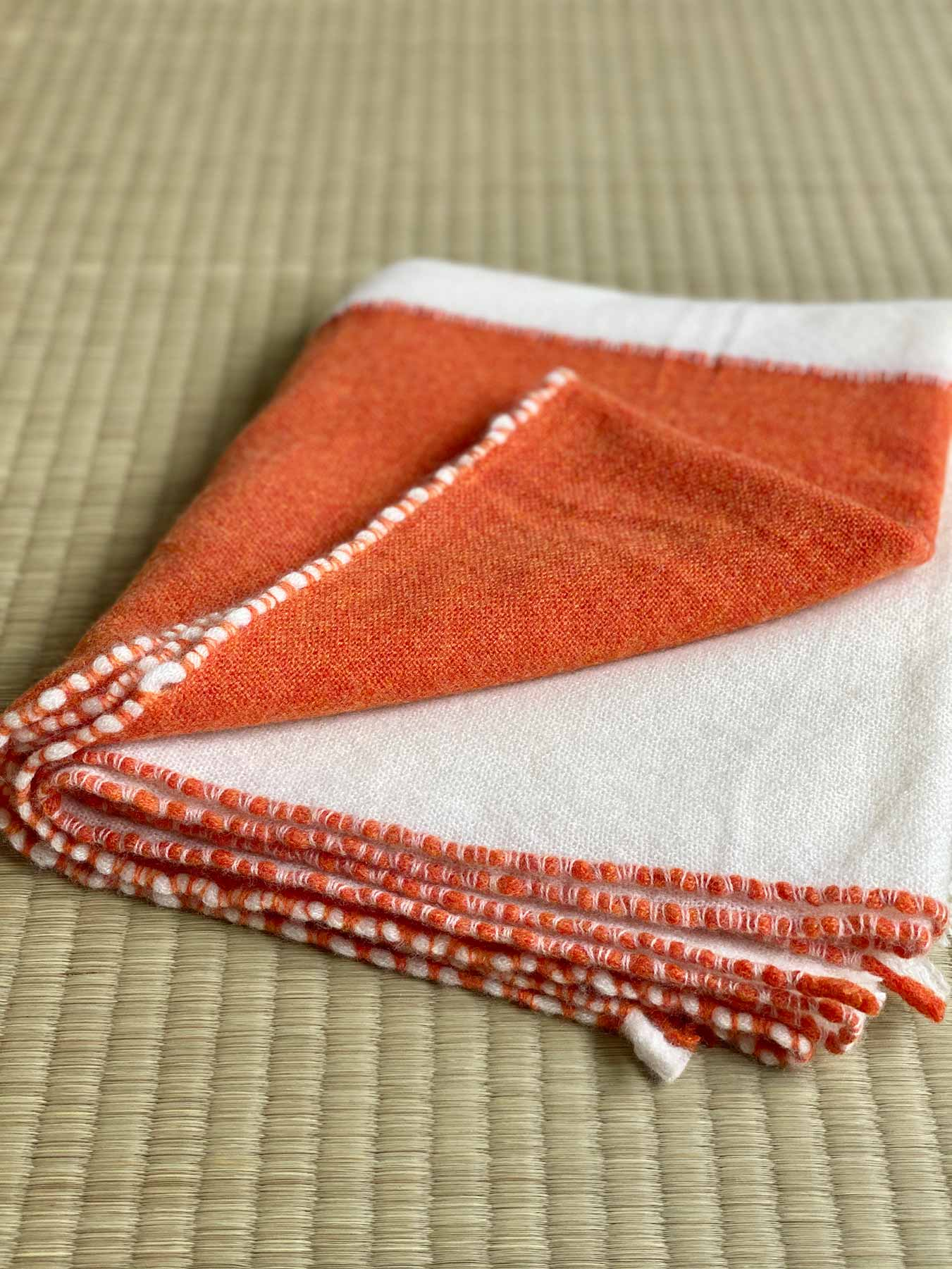 Two Tone Weaver Cashmere Scarf Blood Orange 4