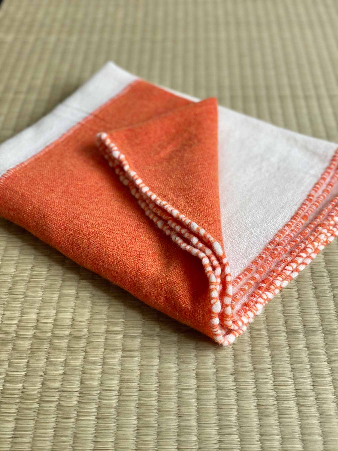 Two Tone Weaver Cashmere Scarf Blood Orange 5
