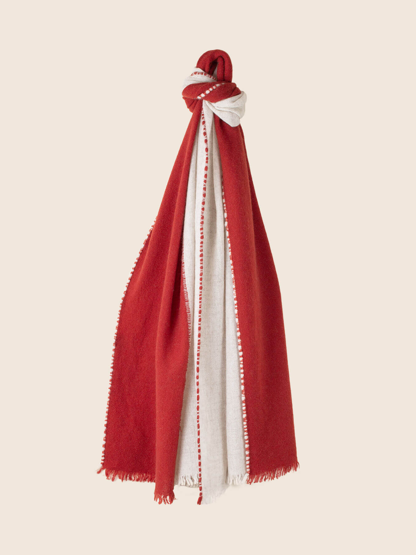 Two Tone Weaver Cashmere Scarf Brick Red 1