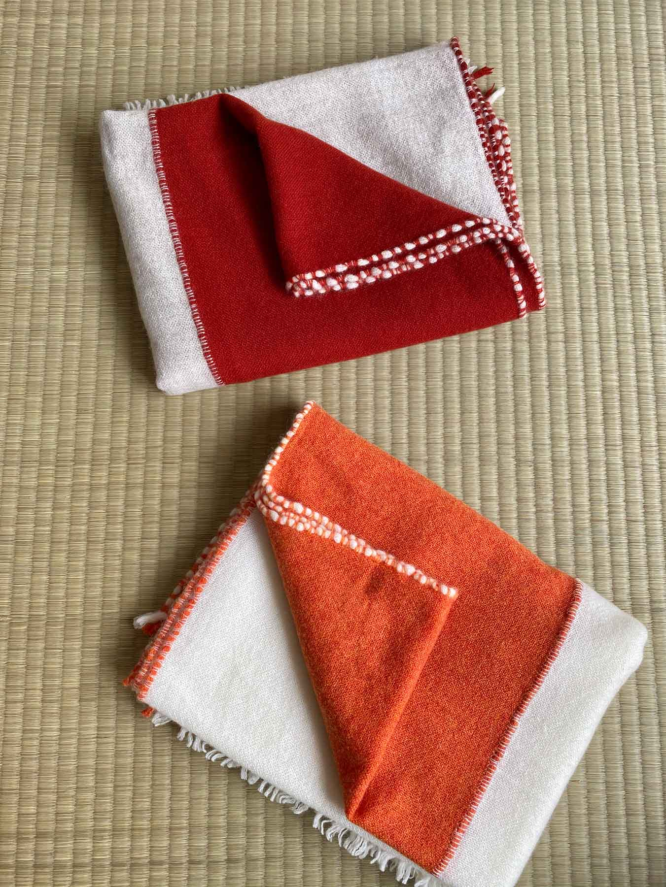 Two Tone Weaver Cashmere Scarf Brick Red 2