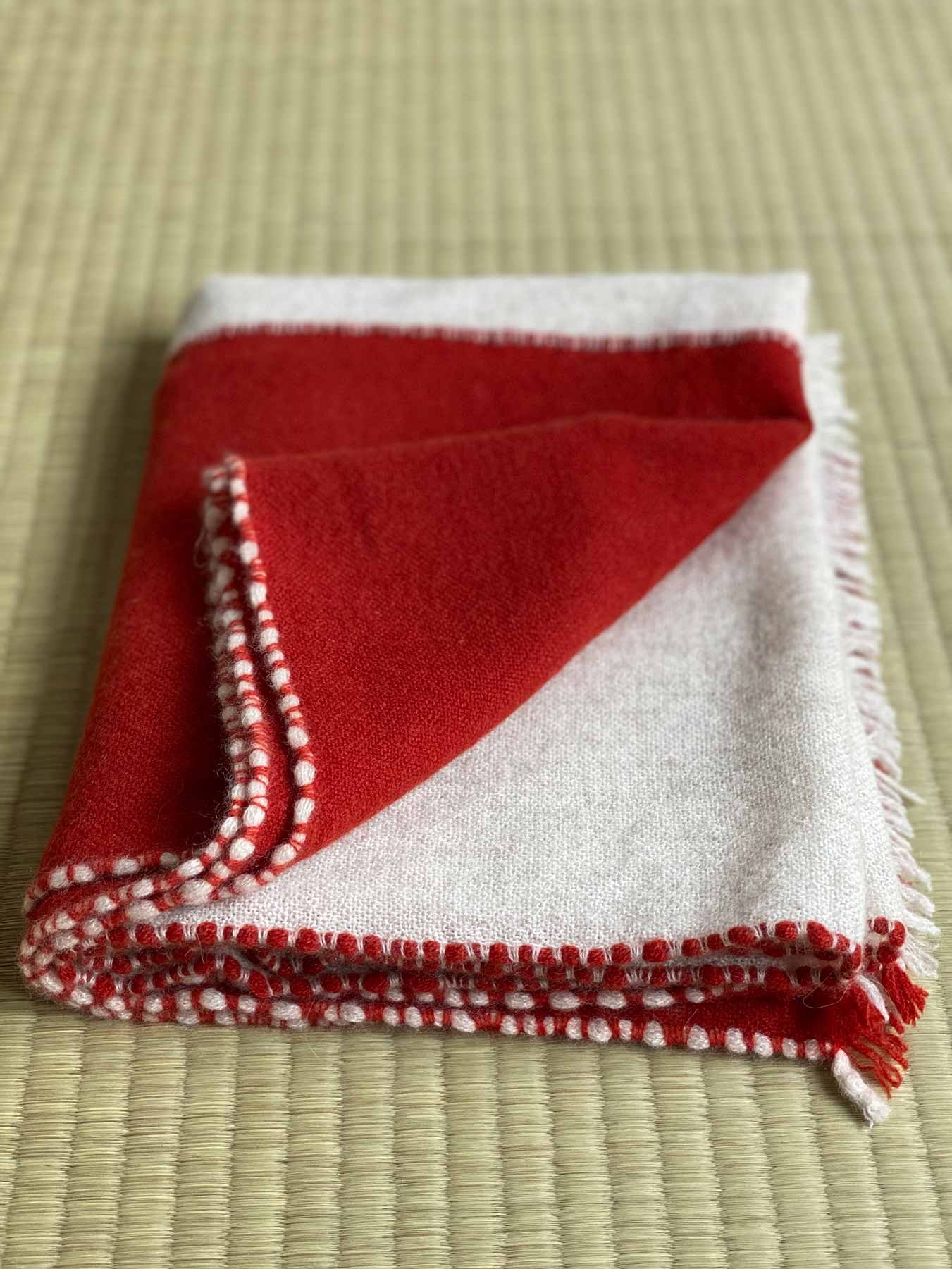 Two Tone Weaver Cashmere Scarf Brick Red 3