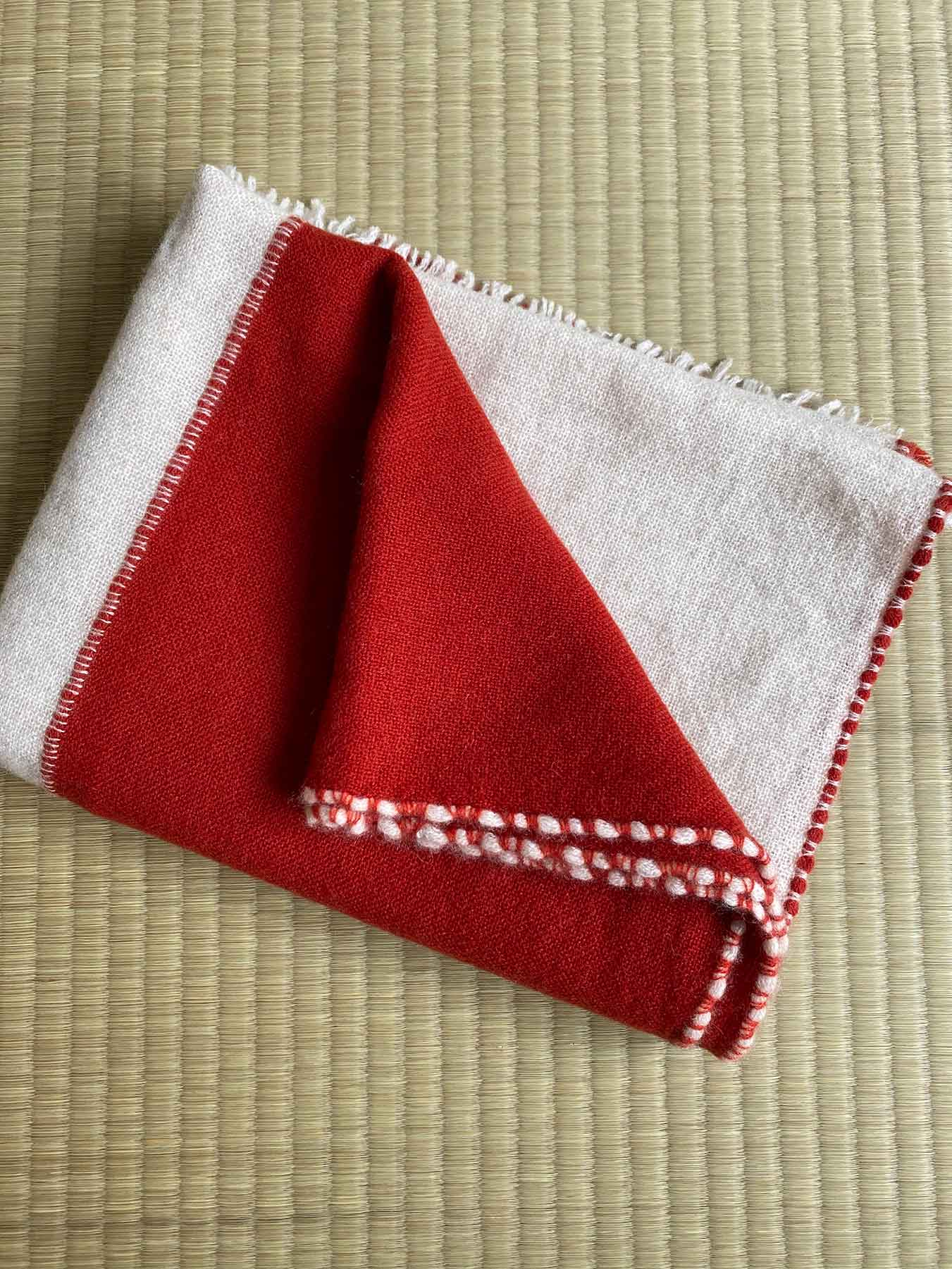 Two Tone Weaver Cashmere Scarf Brick Red 4