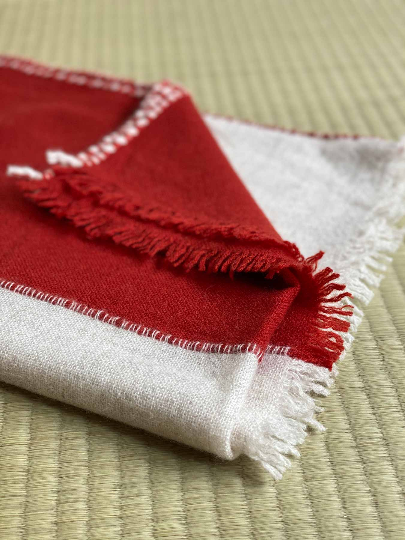 Two Tone Weaver Cashmere Scarf Brick Red 5
