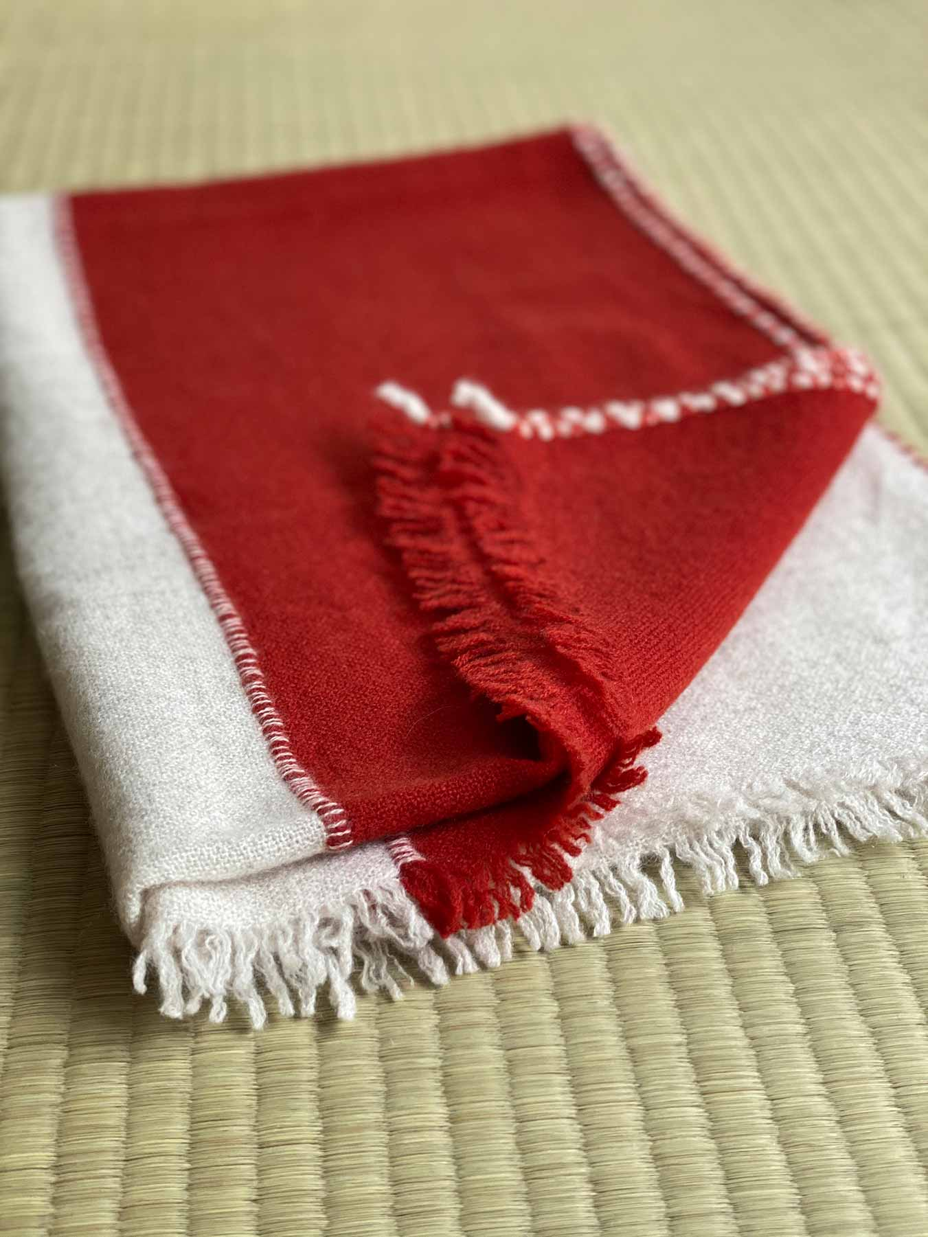 Two Tone Weaver Cashmere Scarf Brick Red 6