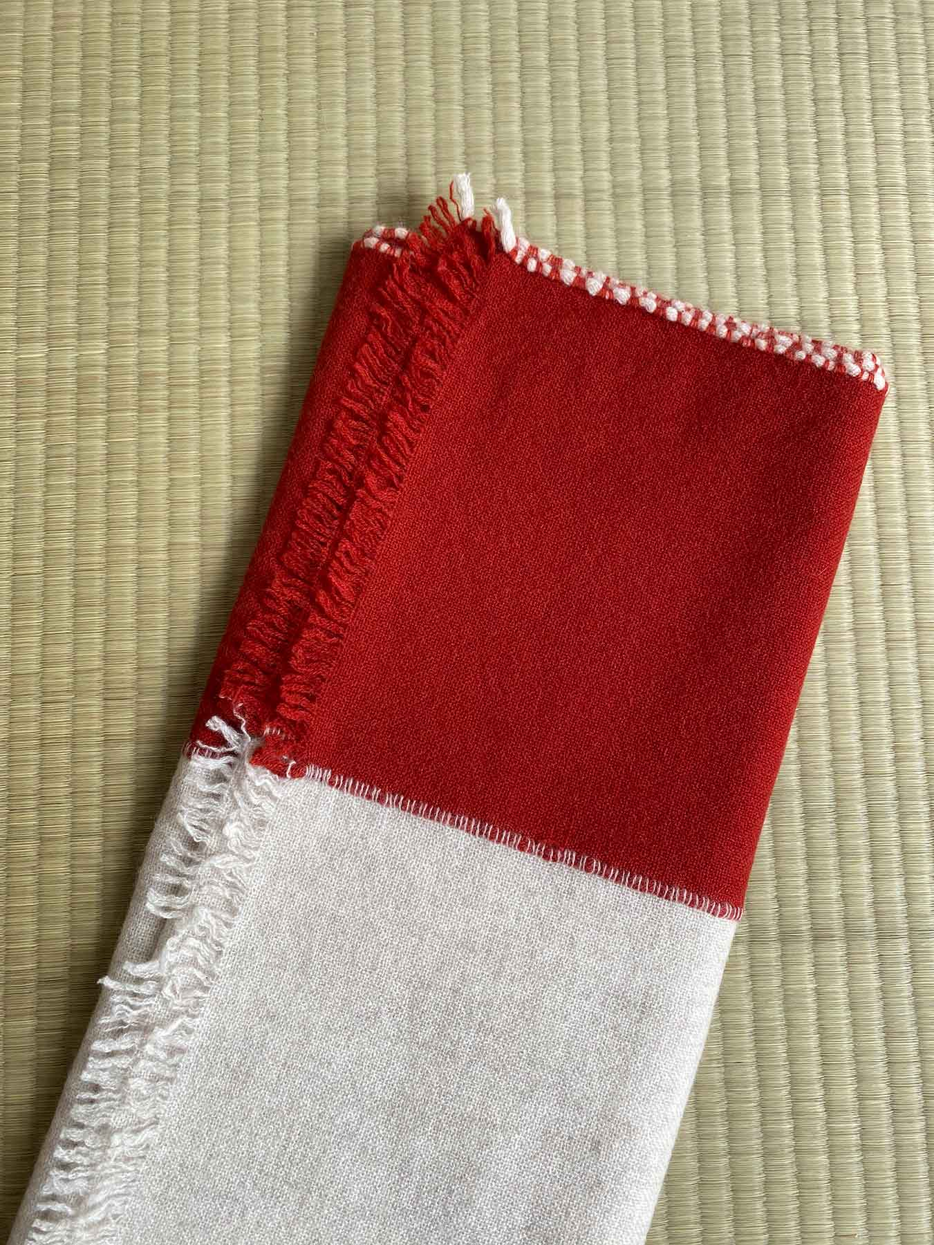 Two Tone Weaver Cashmere Scarf Brick Red 8