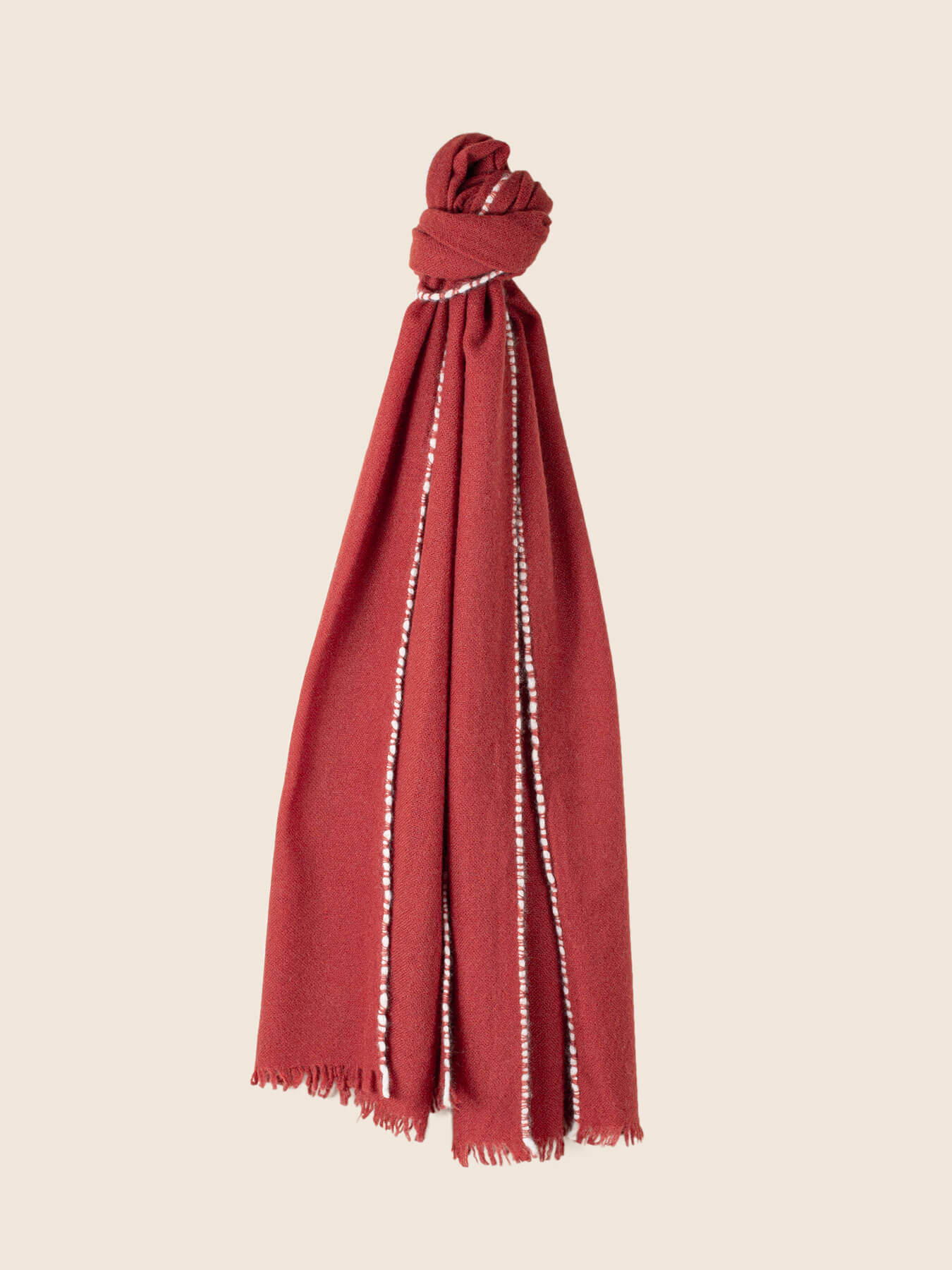 Weaver Cashmere Scarf Brick Red 1