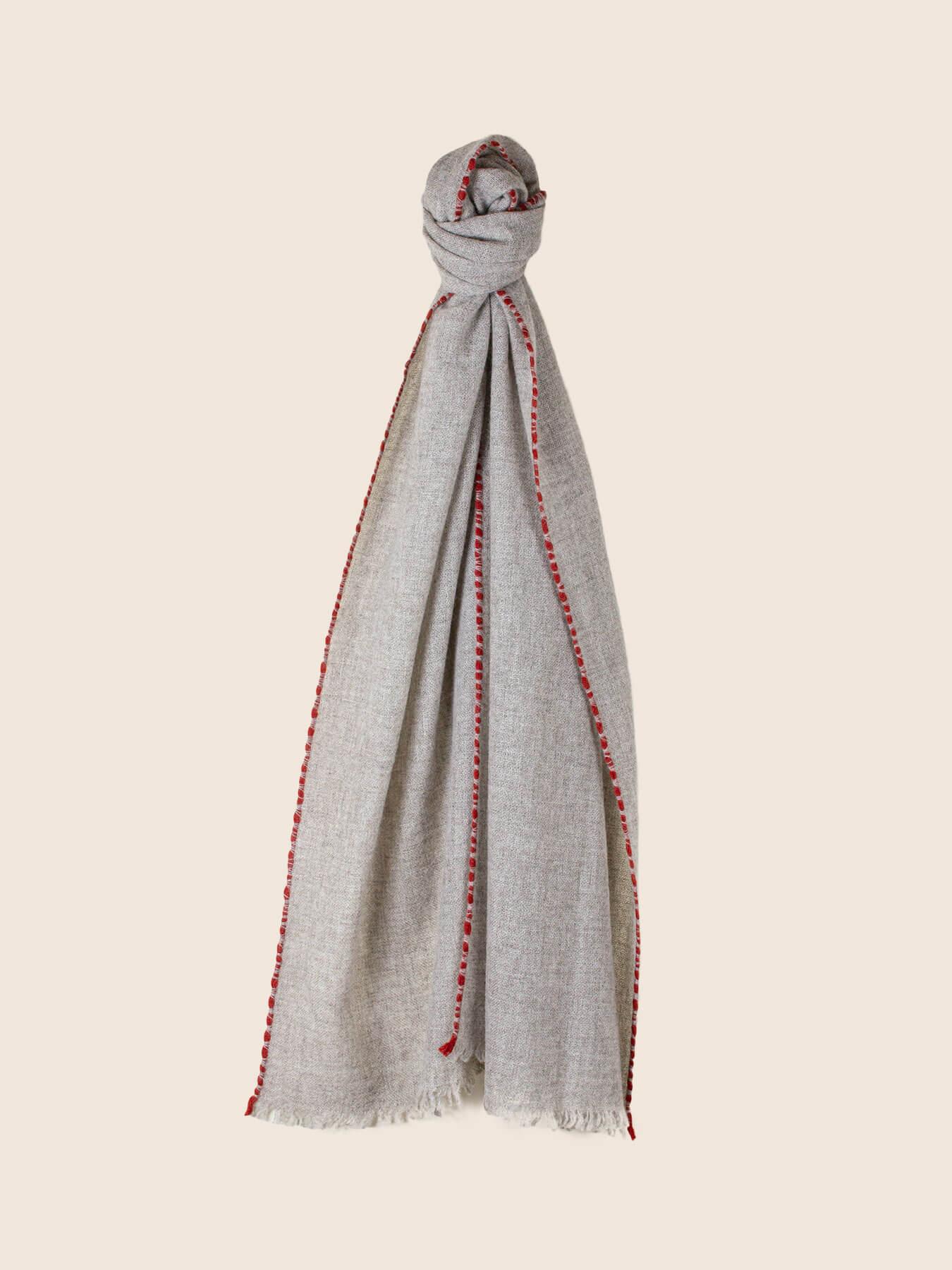 Weaver Cashmere Scarf Grey 1