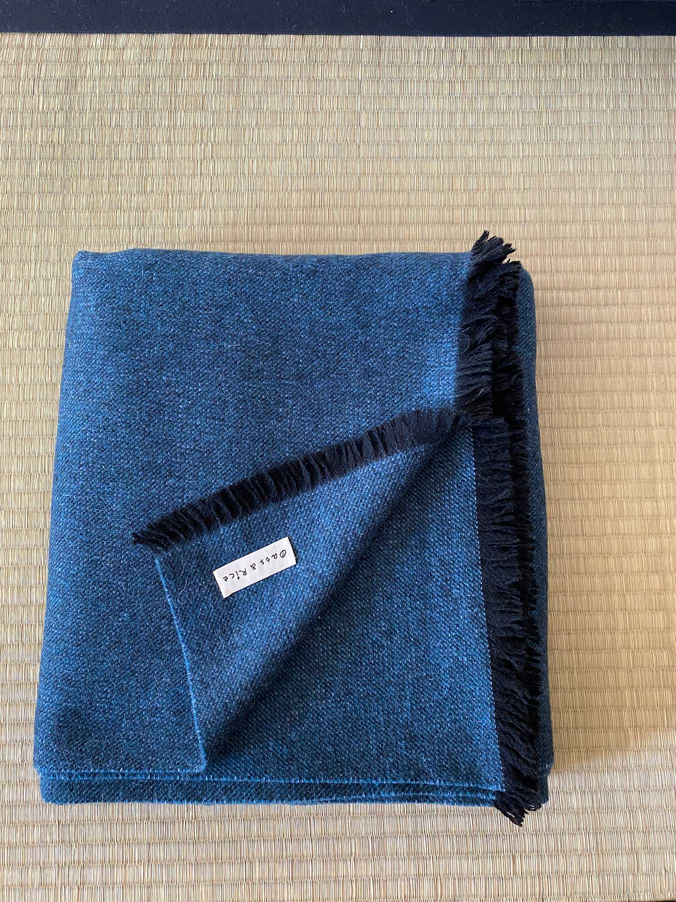 Cashmere Wool Throw Blue 1