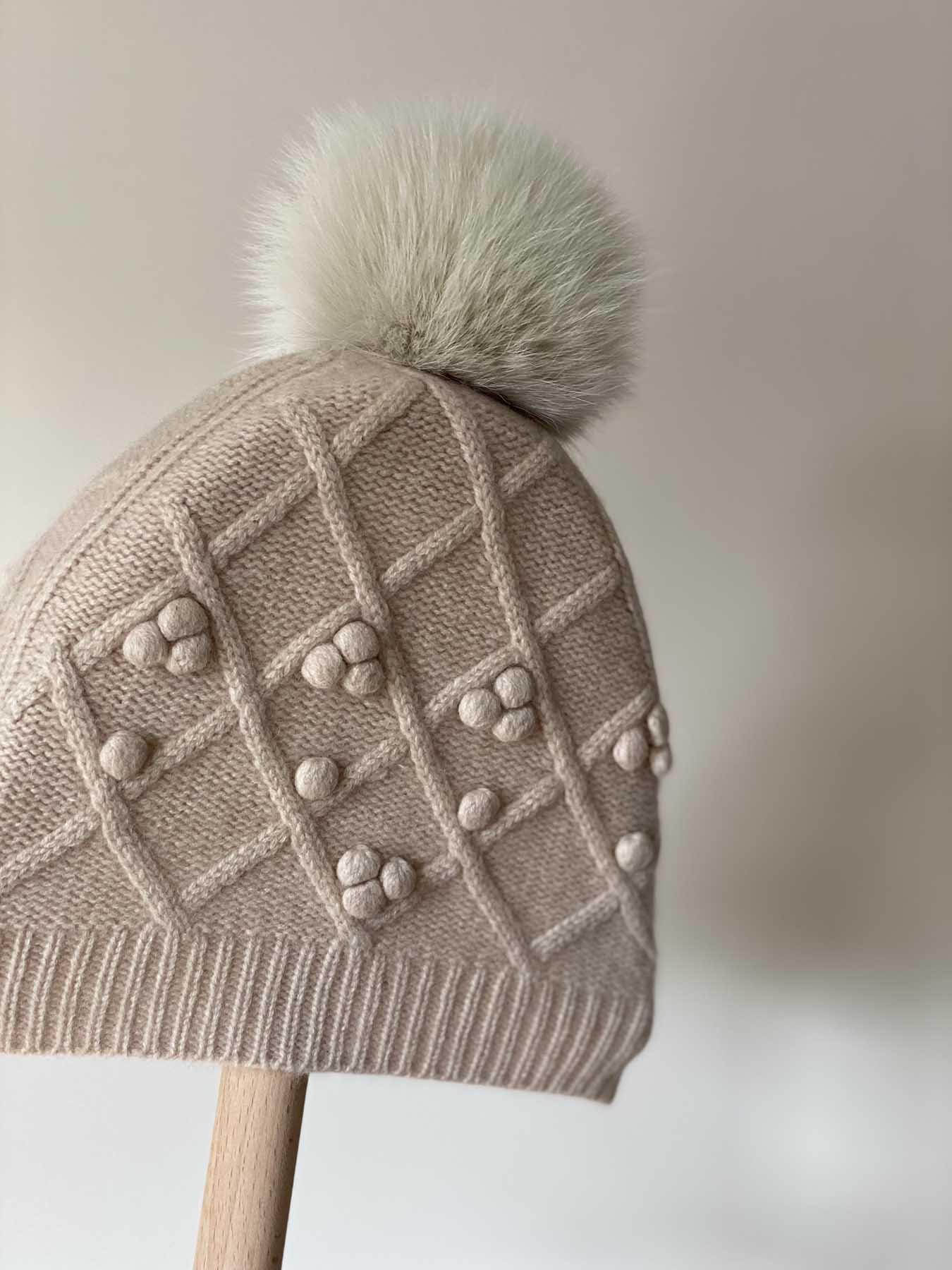 Fox Fur Pompom Cashmere Hat Brown 2
