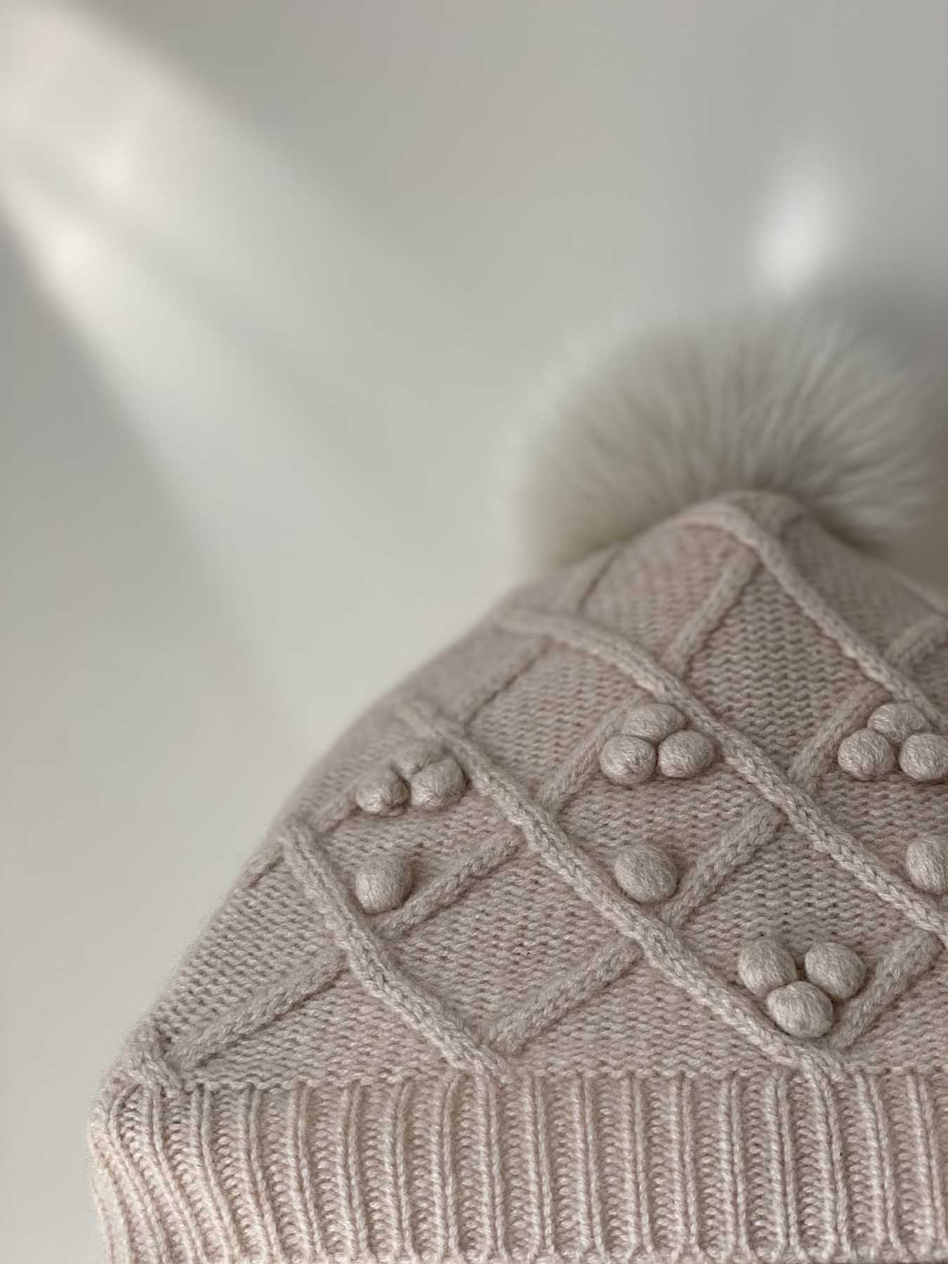 Fox Fur Pompom Cashmere Hat Brown 6