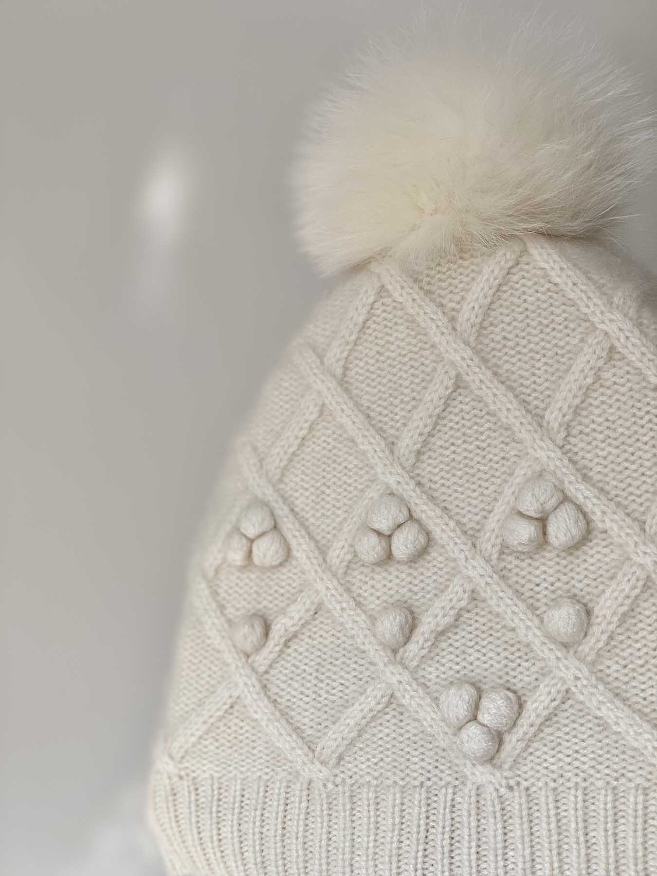 Fox Fur Pompom Cashmere Hat White 5