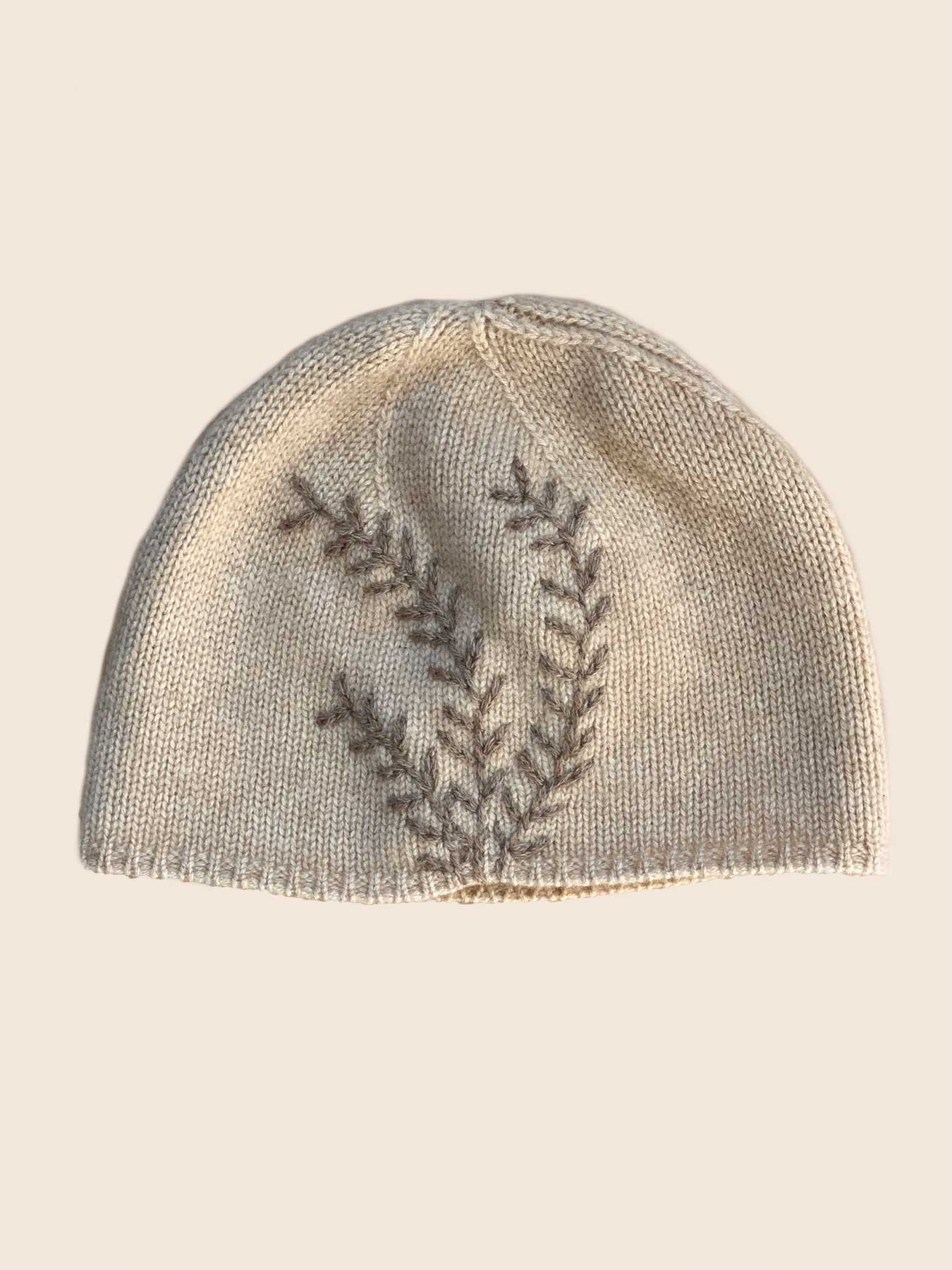 Leaf Cashmere Hat Beige 1