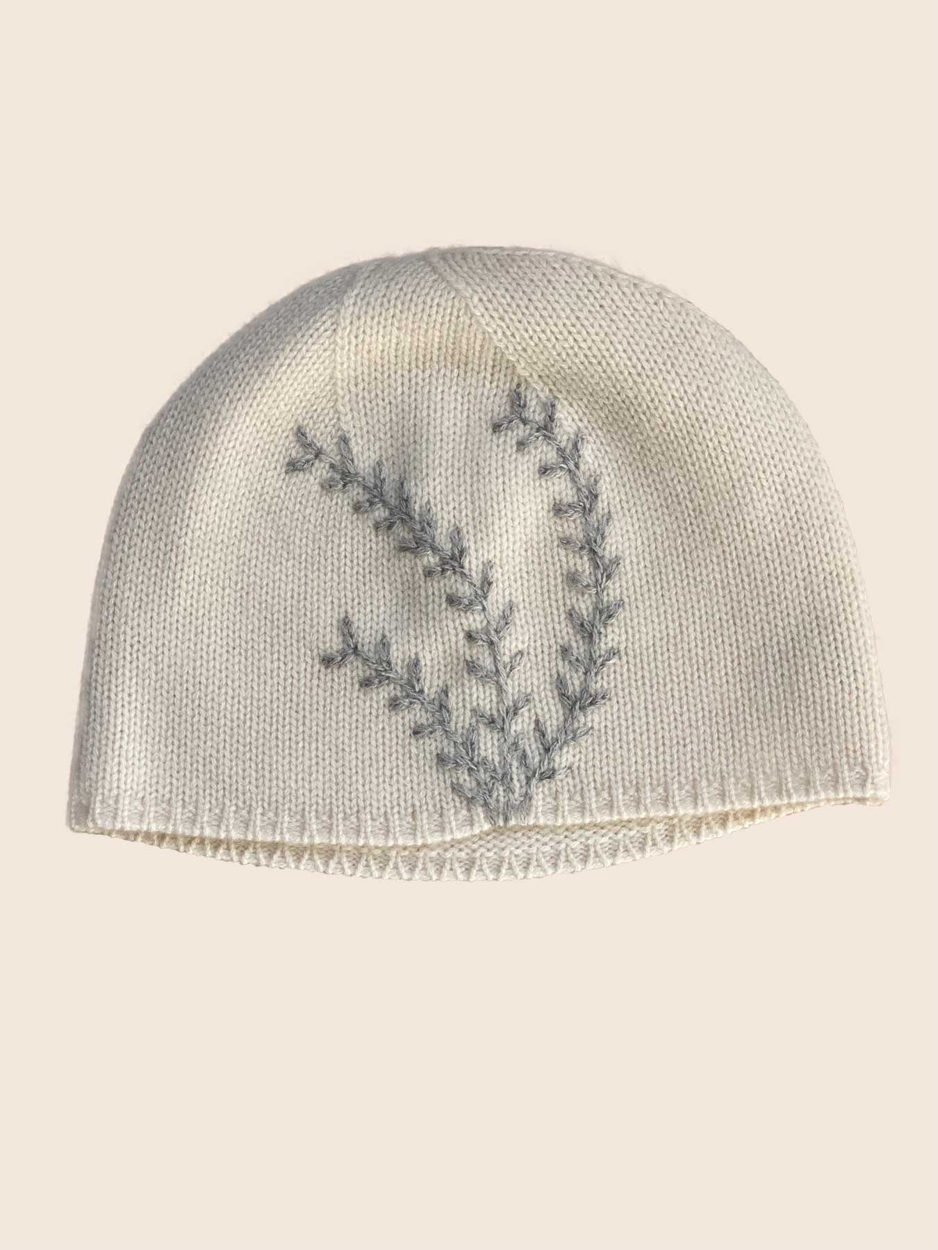 Leaf Cashmere Hat White 1